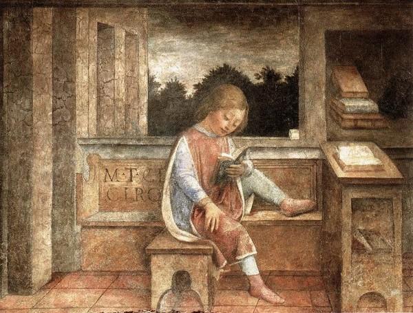 Vincenzo Foppa (b. 1427/30, Brescia, d. 1515/16, Brescia): The Young Cicero Reading/ c. 1464