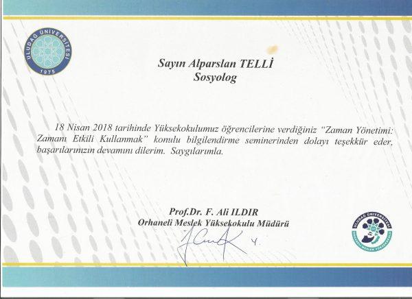 Uludağ Üniversitesi Orhaneli MYO Zamanı Etkili Kullanmak Semineri