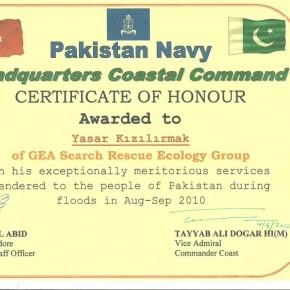 Pakistan Sel Felaketi Teşekkür Belgesi 2010